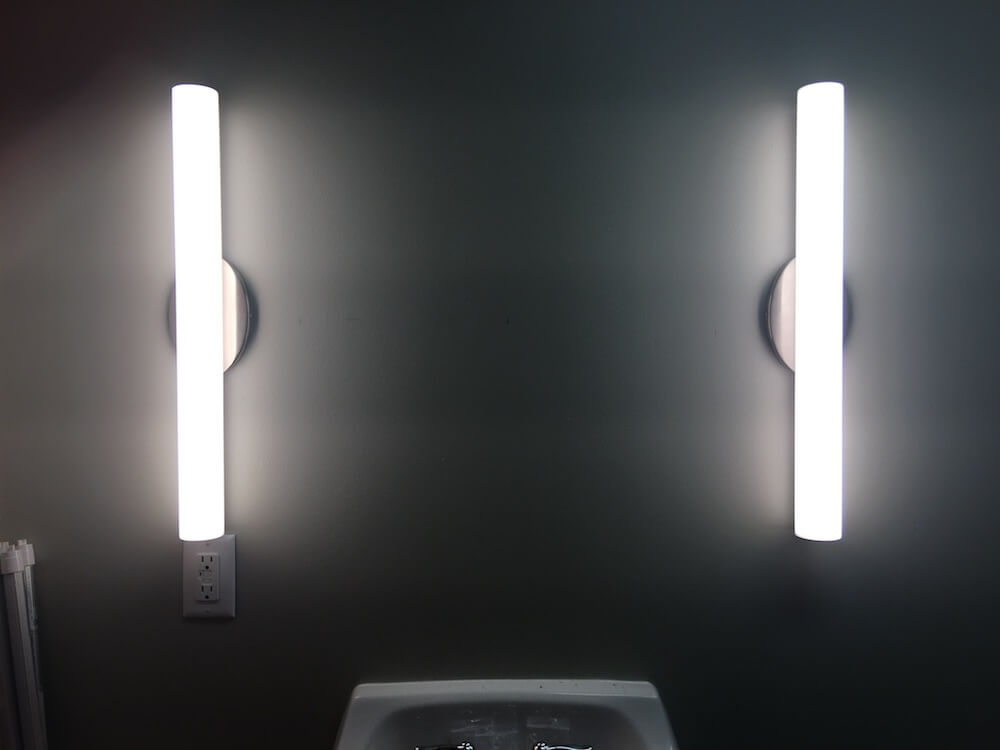 LED dimmers for the bathrooms and makeup room -
